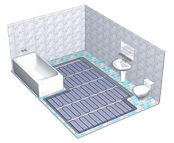 Prikaz podnog grijanja u kupaoni